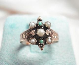 ANTIQUE VICTORIAN 14K ROSE GOLD TURQUOISE SEEDPEARL RING