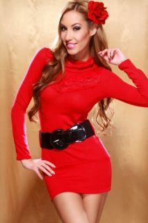 Home / RED TURTLENECK LACE LONG SLEEVE BELTED BANDED SWEATER DRESS