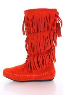 Orange Faux Suede Fringe Tiered Mid Calf Moccasin Boots @ Amiclubwear