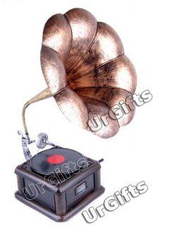 Vintage Hand Made Tin Metal Art Bar Decor Model Phonograph Vinyl