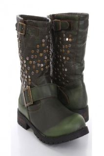 Army Green Faux Leather Studded Buckled Combat Boots @ Amiclubwear