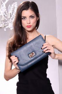 Navy Faux Leather Flap Twist Lock Clutch Handbag @ Amiclubwear