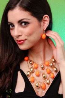 NEON ORANGE GOLD FACETED BEADED NECKLACE EARRINGS SET @ Amiclubwear
