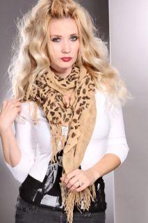 Beige Leo Flutter Design Fringe Detail Scarf @ Amiclubwear scarf