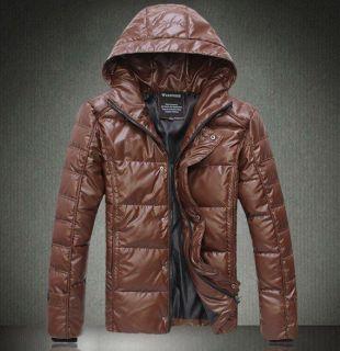 free ship mens fashion leather winter coat cotton padded warm jacket
