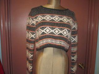 Rag & Bone black white fuzzy aztec print cropped sweater sz S