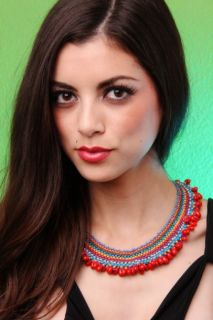 RED MULTI COLOR DANGLE BEADED NECKLACE @ Amiclubwear Necklace Online