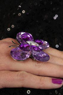 PURPLE PRETTY RHINESTONE BUTTERFLY ADJUSTABLE RING @ Amiclubwear Ring