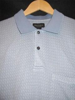 VAN HEUSEN ~ MENS DESIGNER WEDGEWOOD BLUE PRINT GOLF POLO SHIRTS ~ SZ