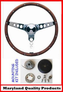 60 73 VW Volkswagon Grant Wood Steering Wheel Chrome 15 Walnut (Fits