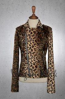 vb HOMME Mens Faux Fur Leopard Print Rider Jacket 6PB