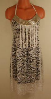 Vintage Victorian Lace Jeweled Neck Fringe Bib Dress S NEW