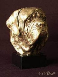 ENGLISH MASTIFF, on marble statue figurine sculpture head Cold Cast