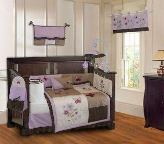 Purple Blossom Designer Girls Baby Crib Bedding set 9pc