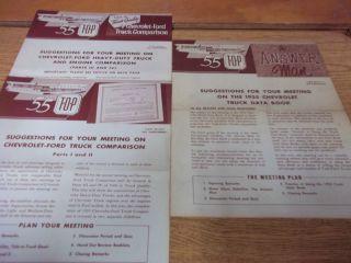 1955 Chevrolet Truck Meeting Guide Brochures for sales departments