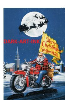 David Mann Art Merry Christmas Print Easyriders Harley Davidson Toy