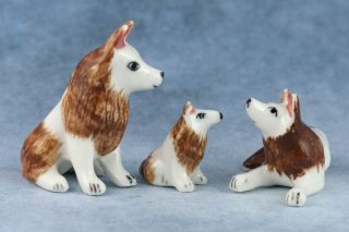 Vintage Set of 3 Miniature Porcelain Red Siberian Husky Dog Family