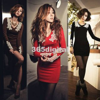 New Ladies Tight Sexy Long Sleeve Slim Casual Mini Dress 3 Colors