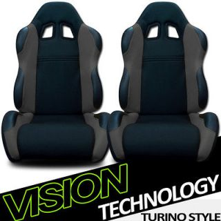 2x LH+RH Black/Grey Fabric & PVC Leather Reclinable Racing Seats