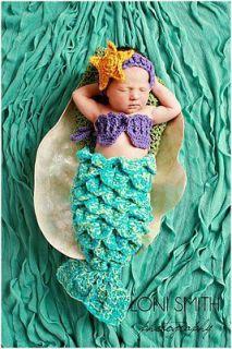 Baby Mermaid Tail Shells Tiara Costume Set Crochet Boy Girl Newborn