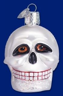 SKULL GLASS HALLOWEEN FALL THEMED OLD WORLD CHRISTMAS SPOOKY ORNAMENT