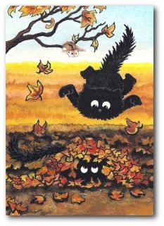 Peek&Boo Black Cats Hamsters Double Trouble Autumn Pounce FuN   ACEO