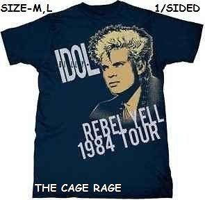 BILLY IDOL   T SHIRT   REBEL YELL TOUR 1984   ROCK MUSICIAN   1/SIDED