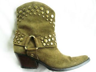 180 GUESS MARCIANO Studded Womens Green Suede Leather Cowboy Mid Calf