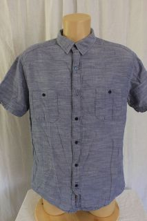 Hang Ten Size LARGE Washed Out Blue SS Button Up Shirt Cotton