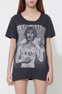 HARE HARRI george harrison beatles wide neck Unisex Gray Rock T Shirt
