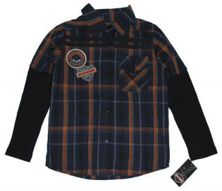 HARLEY DAVIDSON® BOYS LONG SLEEVE BUTTON SHIRT WITH THERMAL SLEEVES