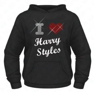 / Rhinestone I Love (heart) Harry Styles 1D hoodie XS XXL Bling