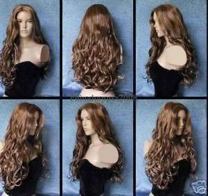 New Stylish long brown curly hair lady wig/wigs+wig cap 23