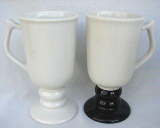 VINTAGE HALL POTTERY WHITE BLACK IRISH PEDESTAL MUGS