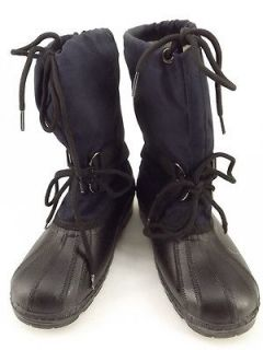 Kids boys boots blue black fabric rubber vintage 3 M insulated winter