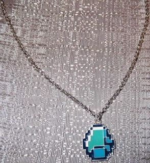 MINECRAFT Diamond Pendant NECKLACE w/ Silvertone Chain