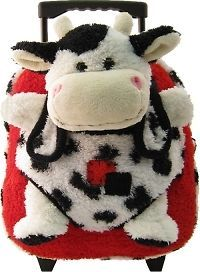 rolling suitcase/backpack red, black and white cow