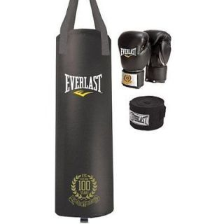 100 LB 100th Anniversary Heavy Bag Boxing Kit Gloves & Hand Wraps