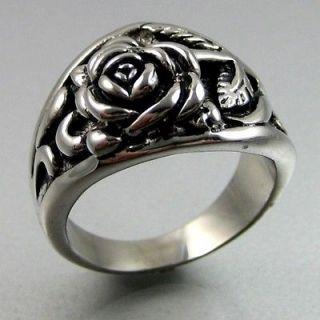 Vintage Biker Black Silver Heavy Stainless Steel Rose Mens Ring Size