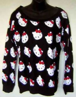 Hello Kitty White Face Red Bow Allover Black Pullover L/S Lightweight