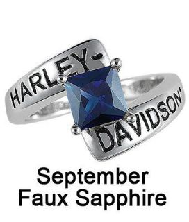 Harley Davidso​n® September Birthstone Ring   Faux Saphire   size 5