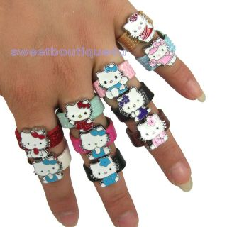 Wholesale 10 pcs HelloKitty cats Charm Adjustable Leather rings for