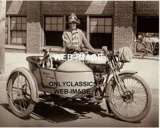 1914 EARLY VINTAGE HARLEY DAVIDSON SIDECAR MOTORCYCLE BOXER DOG GIRL