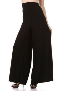 WOMEN PLUS SIZE BLACK FULL LENGTH PALAZZO PANT Gaucho Wide Leg Flare