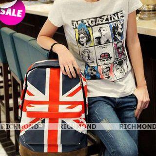 UK Flag Union Jack Style Backpack Canvas Punk Double Shoulder Rucksack