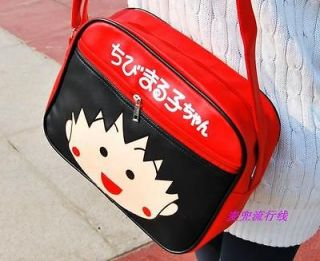 New Chibi Maruko Synthetic Leather Messenger Shoulder Bag Red CMB1