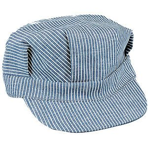 HICKORY STRIPED 100% COTTON TRAIN ENGINEER CAP HAT XL