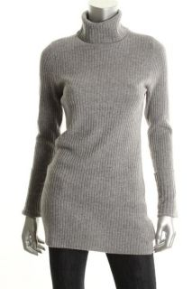 Hayden NEW Gray Cashmere Cuffed Long Sleeves Ribbed Tunic Sweater Top