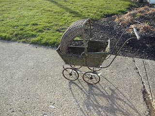 Vintage Antique Baby Buggy Stroller Shabby Wicker Original Green Paint