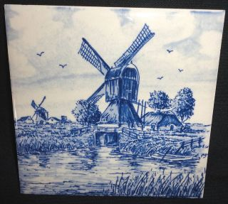 Delft Blue Tile Hand Painted Wind Mill House Lock Decorative Hanging
